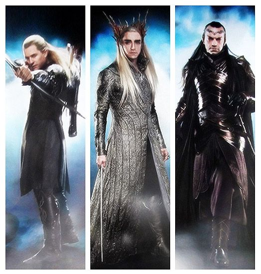 Legolas (I think...he doesn't really look like himself), Thranduil and Elrond -- character stills from The Hobbit!!!! Oh my gosh, they look awesome....