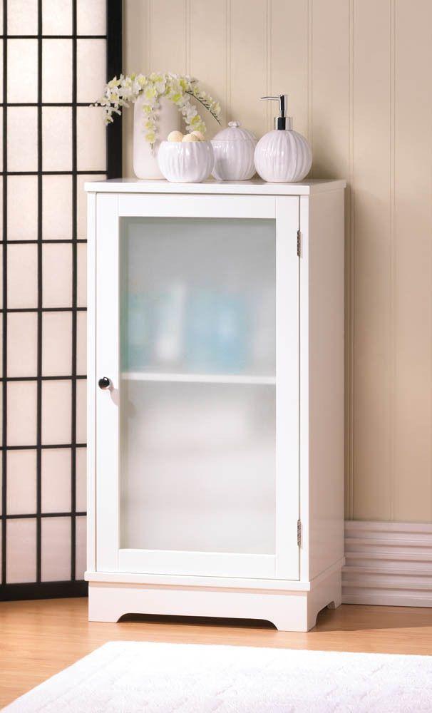 Aspen White Storage Floor Cabinet Frosted Glass Door Bath Decor