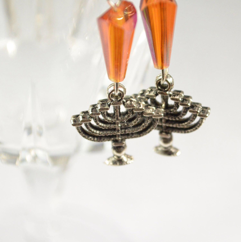 Menorah Earrings Jewelry Judaica Hanukkah