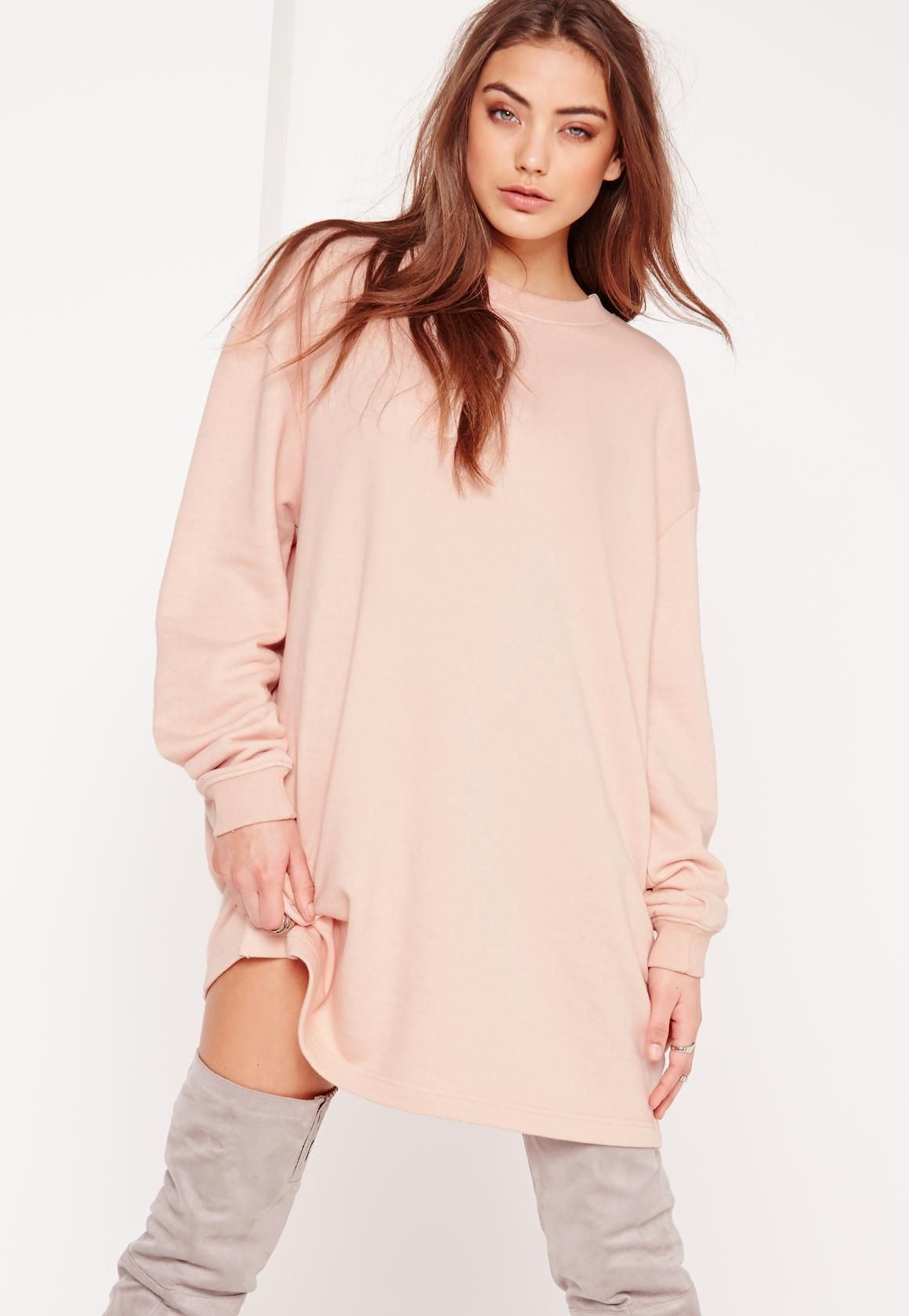 754aa13e189 Missguided - Oversized Sweater Dress Nude