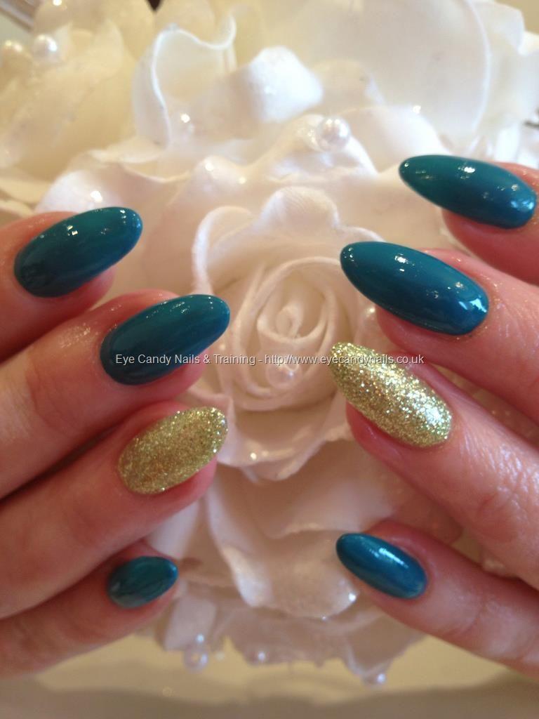 Teal gelish gel polish with crystal nails brilliant gel ring finger ...