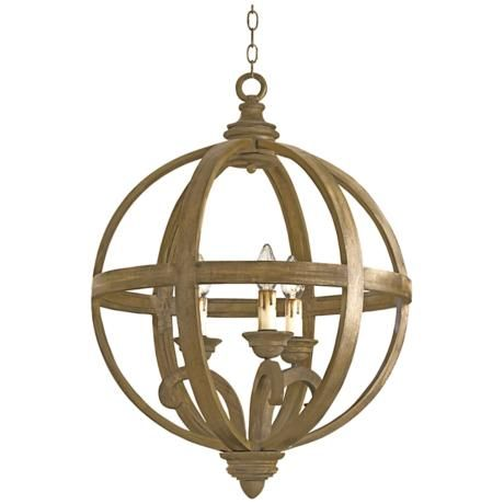 """Currey and Company Axel 24"""" Wide Chestnut Orb Chandelier"""