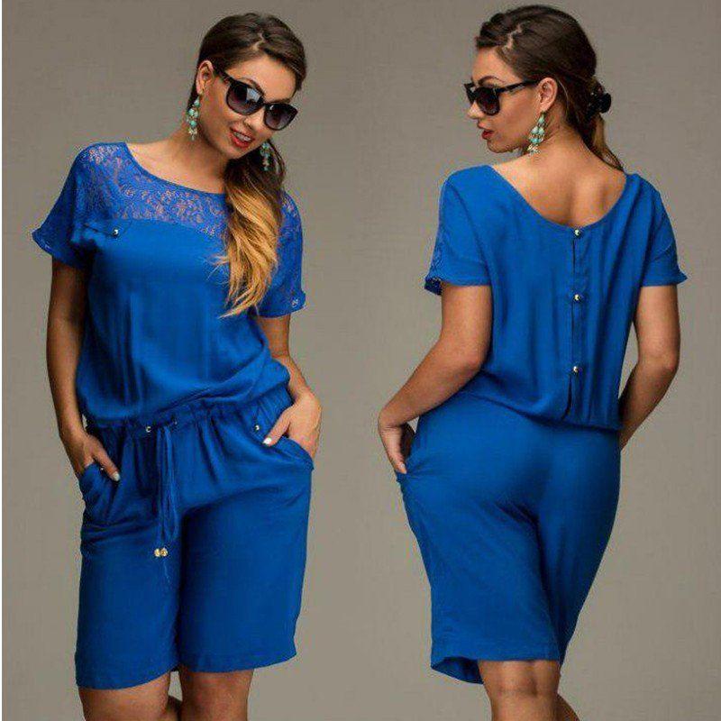 8468cf962aa Women Summer Jumpsuits   Rompers L-6XL Plus Size Lace Short Sleeve But –…