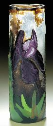 A Marqueterie-sur-Verre and wheel-carved vase by Emile GALLÉ, circa 1900 with a martelé ground. H. 8 3/8in. (21.3cm.) Engraved Emile Gallé and Expos. 1900 (hva)
