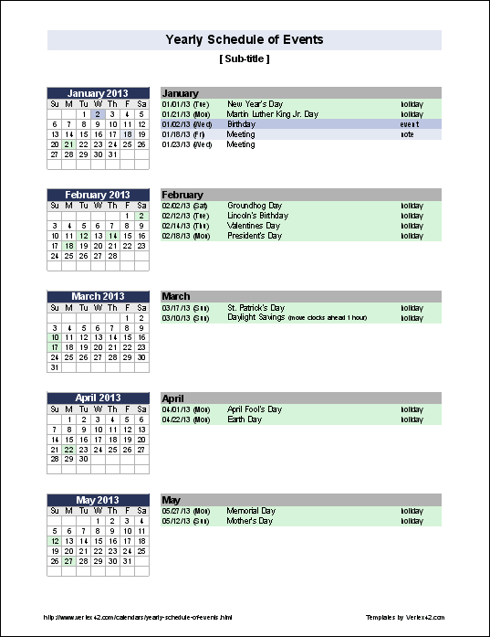 Create A Yearly Calendar Of Events With Holidays Birthdays