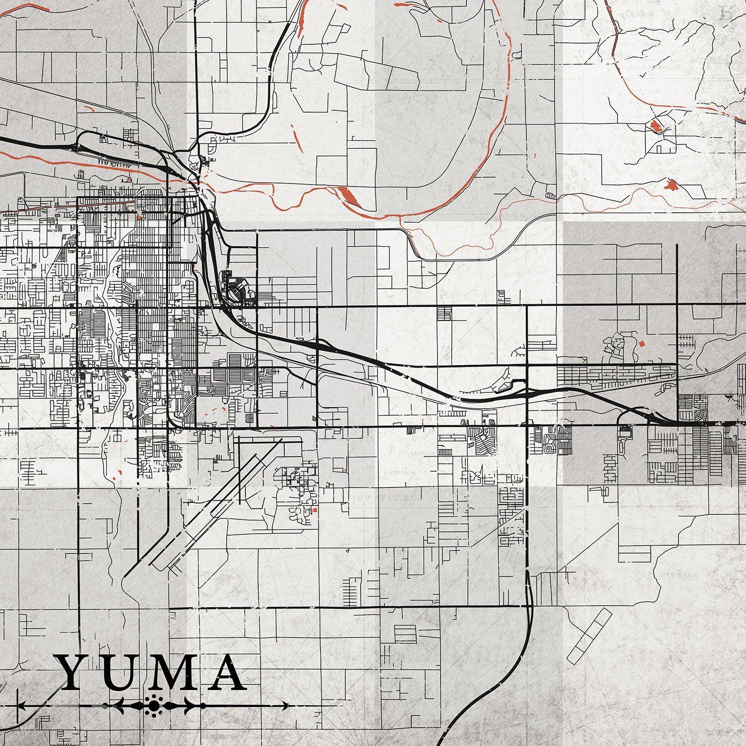 Street Map Of Yuma Arizona.Yuma Az Canvas Print Az Arizona Vintage Map Yuma Town City