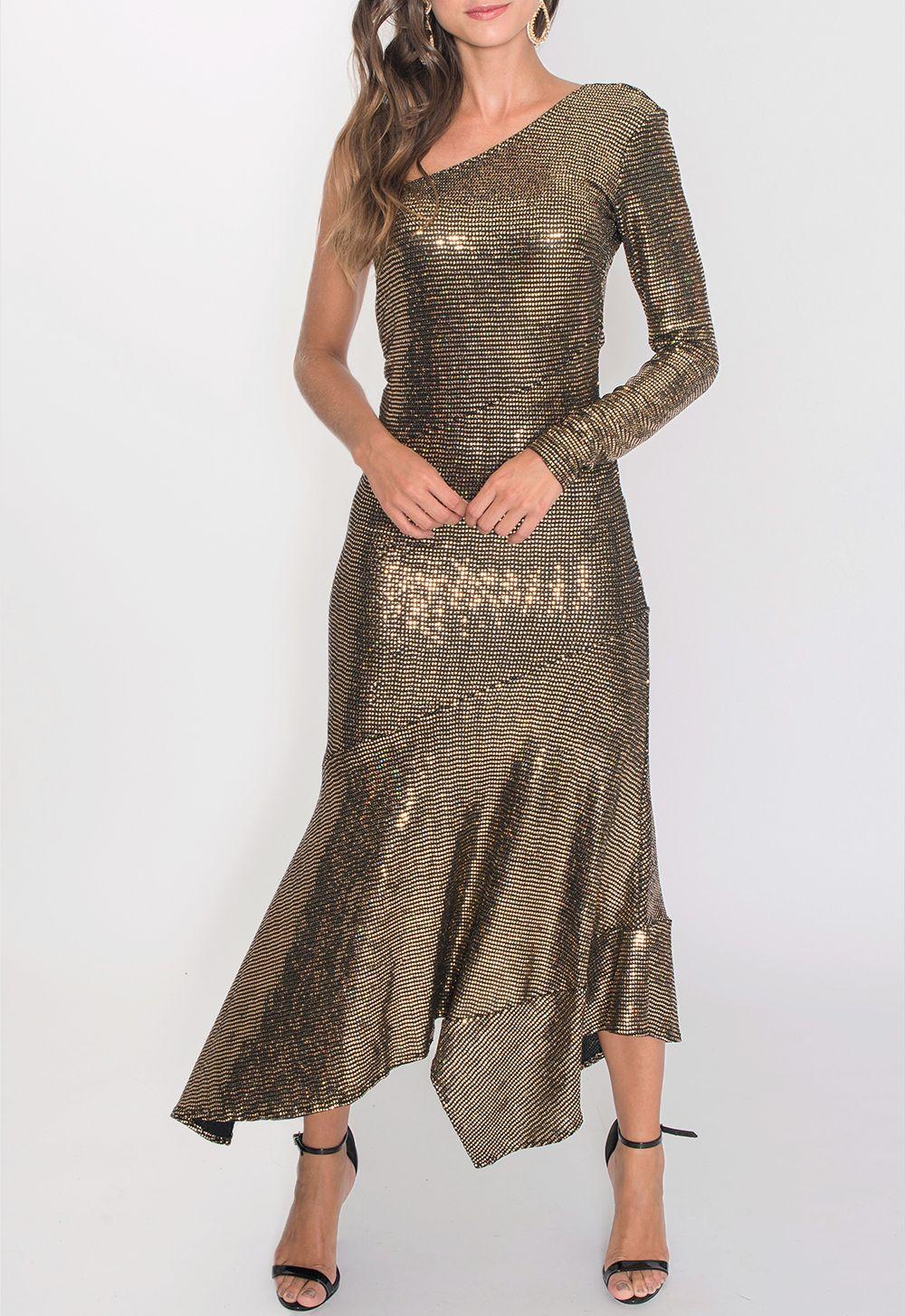 528cf6a44 Vestido midi dourado e prata, um ombro só, com aplicação de brilhos, decote