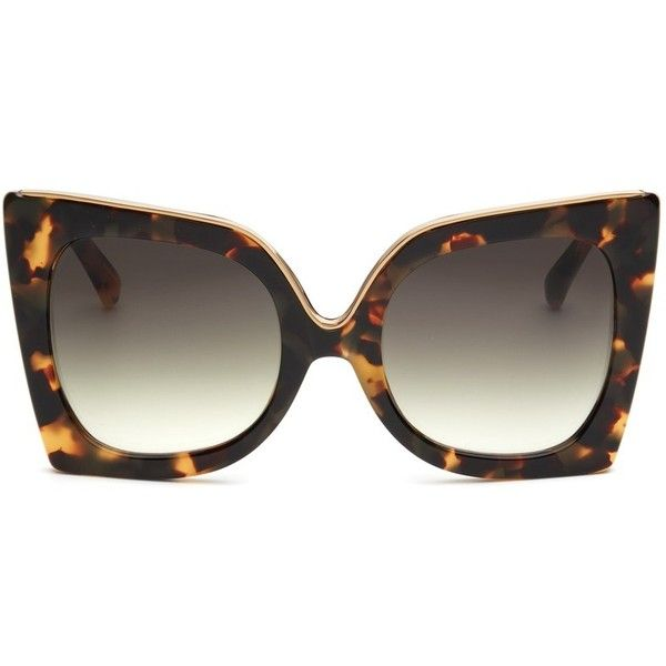 05f6d682343 No.21 Oversized metal brow tortoiseshell cat eye gradient sunglasses (860  BRL) ❤