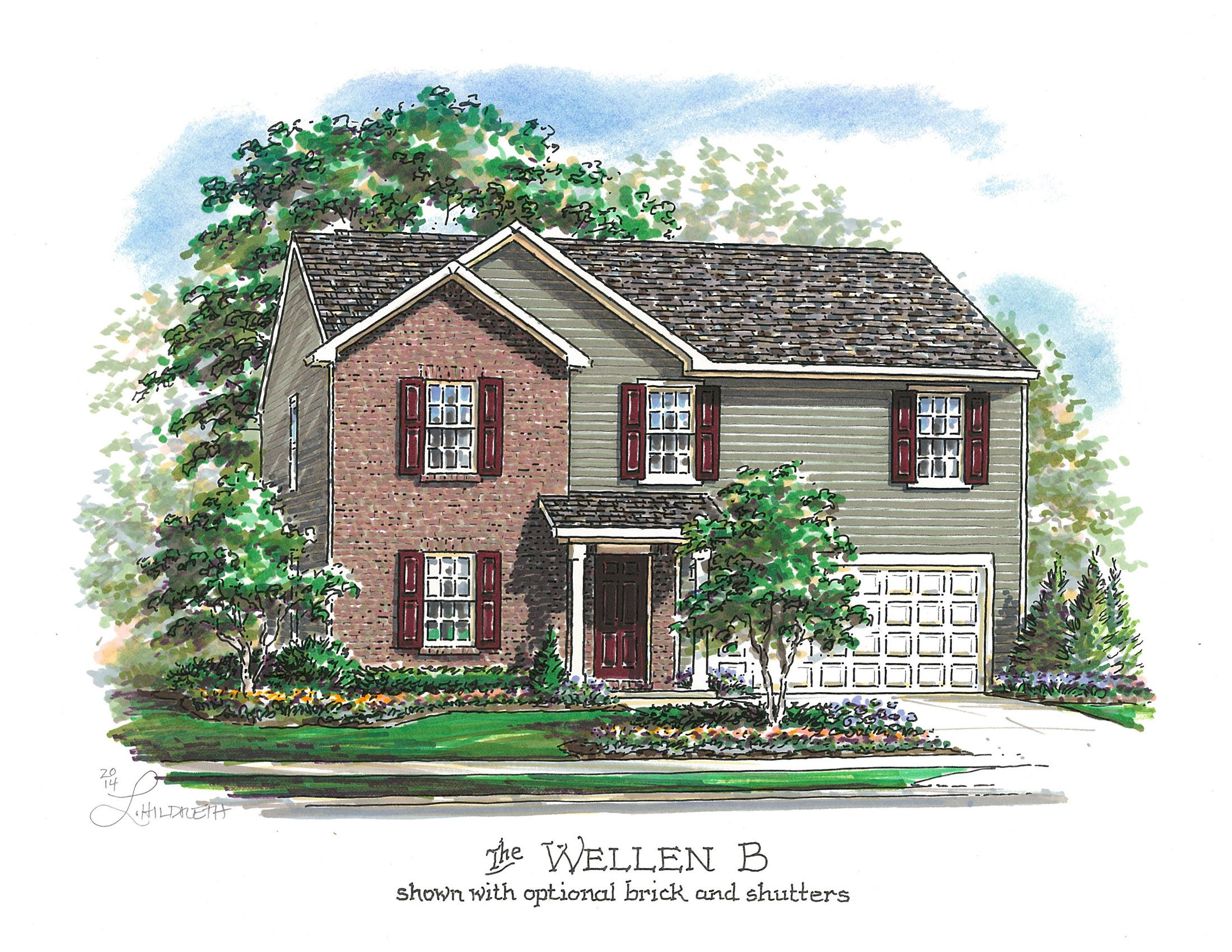 Wellen B shown with optional brick and shutters House