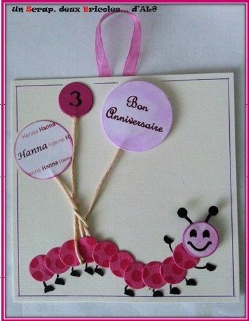 Une ptite carte anniversaire petite fille et sa chenille mes cartes anniversaires pinterest - Carte anniversaire petite fille ...