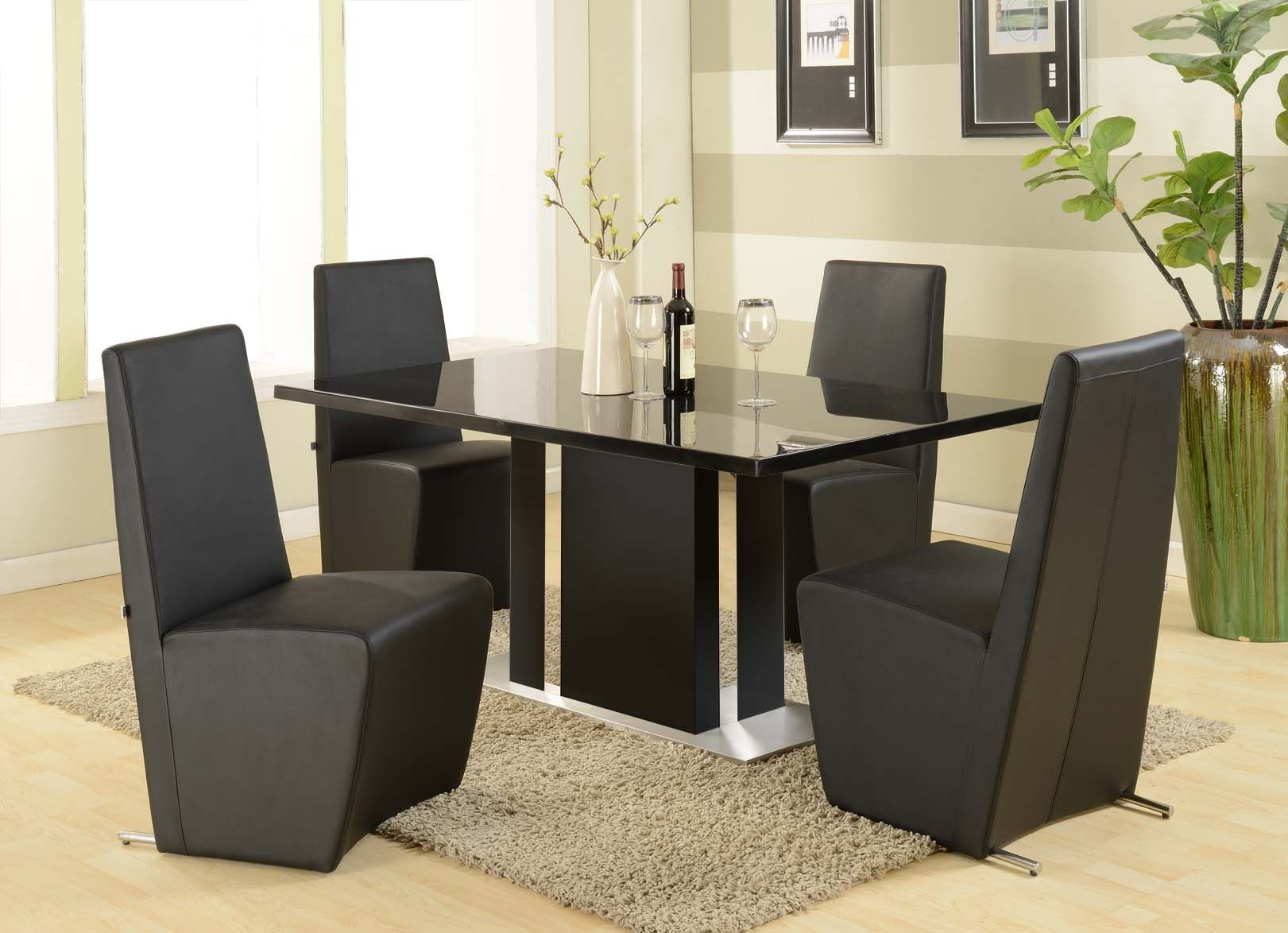 Dining Room, Modern Black Dining Room Chair Plus Brown Fur Carpet And Black  Modern Table: Winning Dining Room Chairs