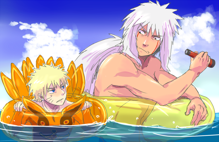Aw... Jiraiya and Naruto <3 I really do see him as Naruto's grandfather. :) (yea I know he's actually his godfather.)