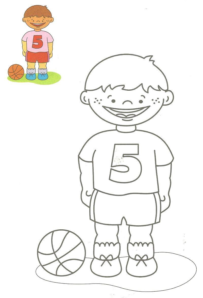 Niño con pelota de fútbol - Dibujos para pintar | Colorear deportes ...