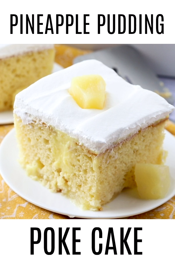 PINEAPPLE PUDDING POKE CAKE (+Video) is part of Desserts - This Easy Pineapple Pudding Poke Cake recipe is made with a boxed cake mix, pineapple slices, vanilla pudding, Cool Whip  Delicious!