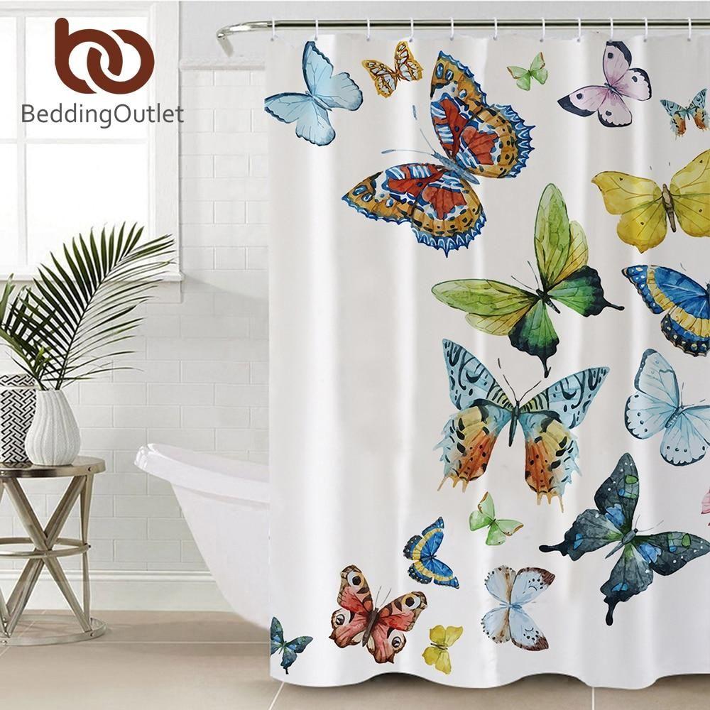 Flying Butterflies Shower Curtain Butterfly Shower Curtain