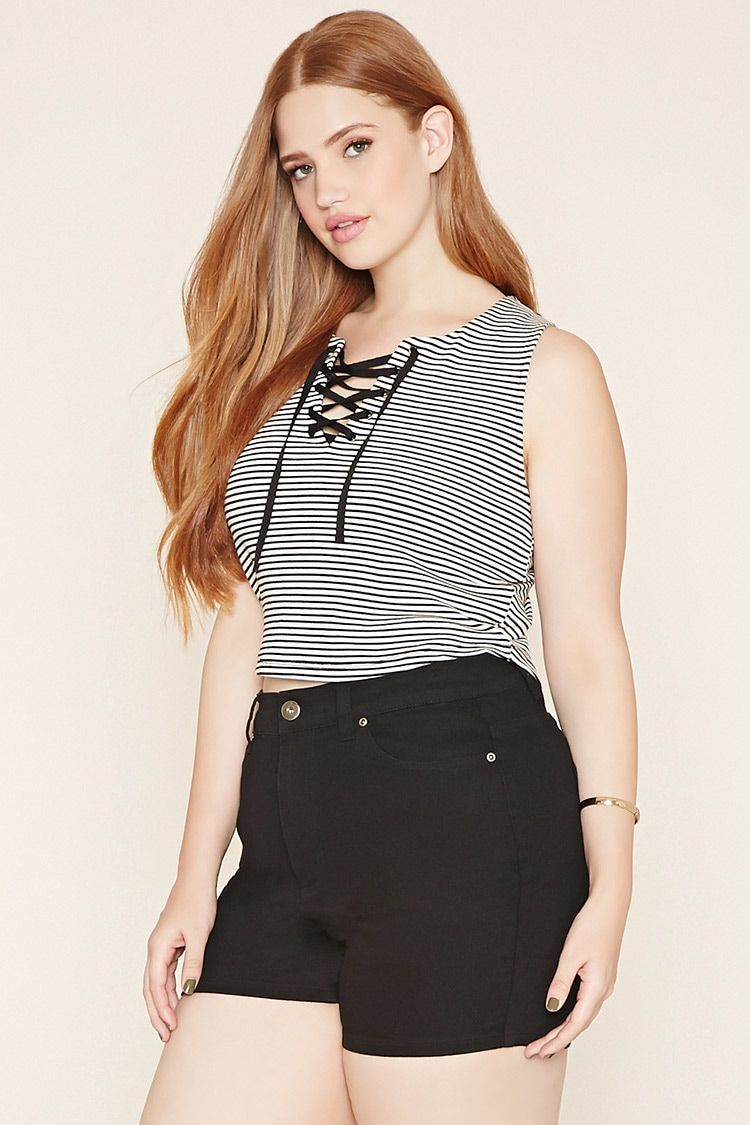 d04099f0 Forever 21+ - A striped ribbed knit top with a lace-up neckline and a  sleeveless cut.