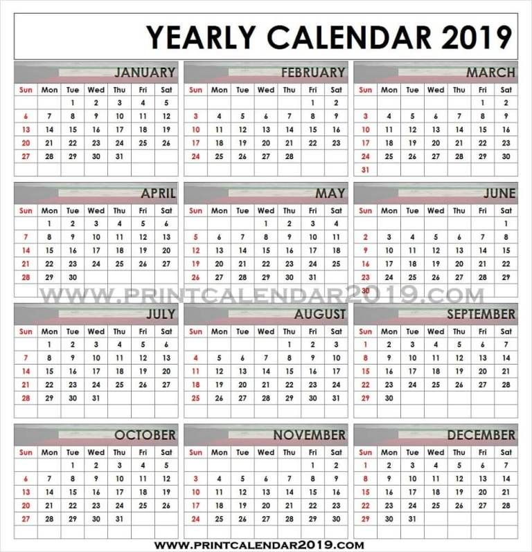 Calendar 2019 Kuwait 2019 Yearly Calendar Calendar, 2019