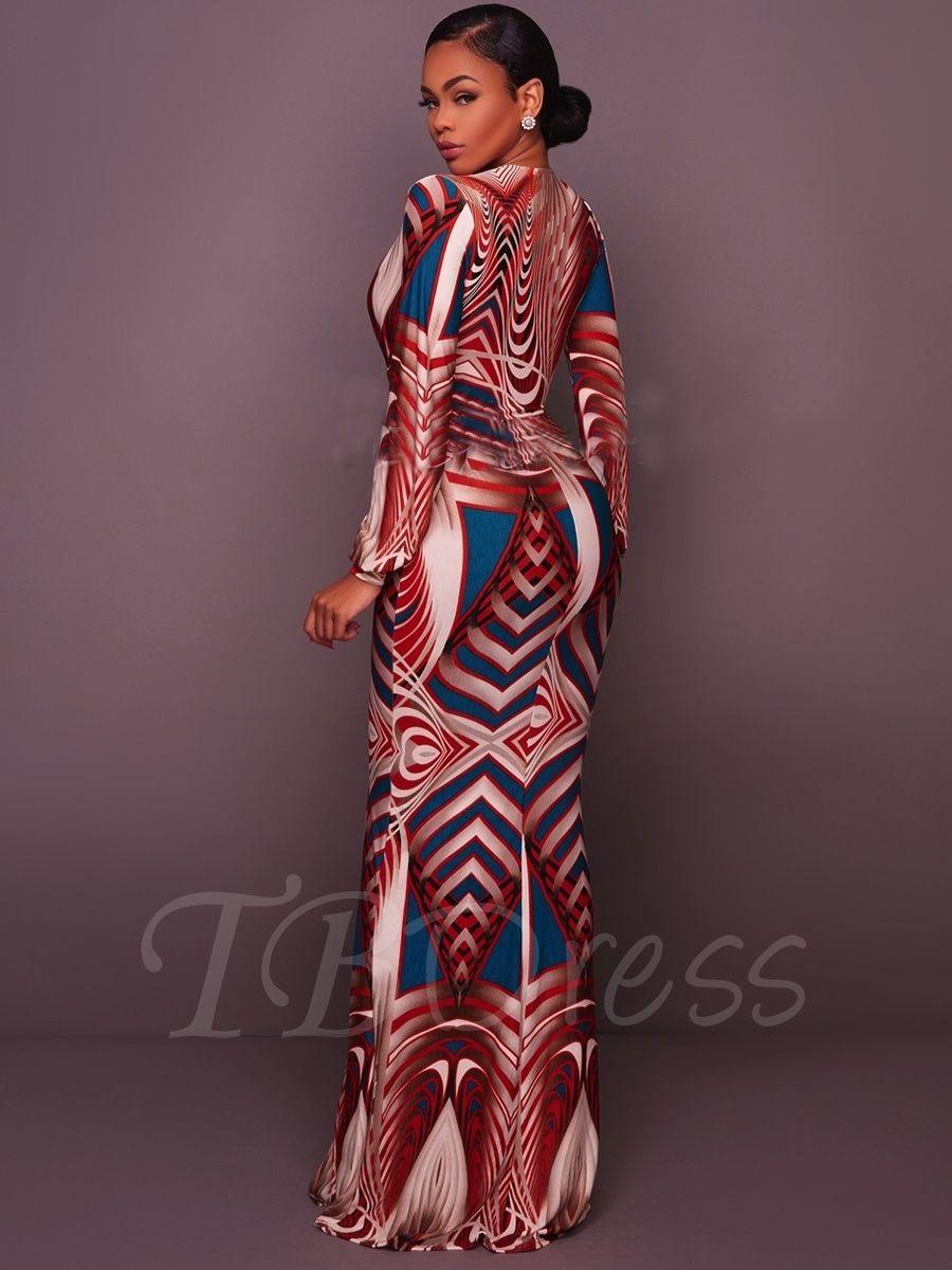 Deep v neck long sleeve womenus maxi dress mtbdress fashion