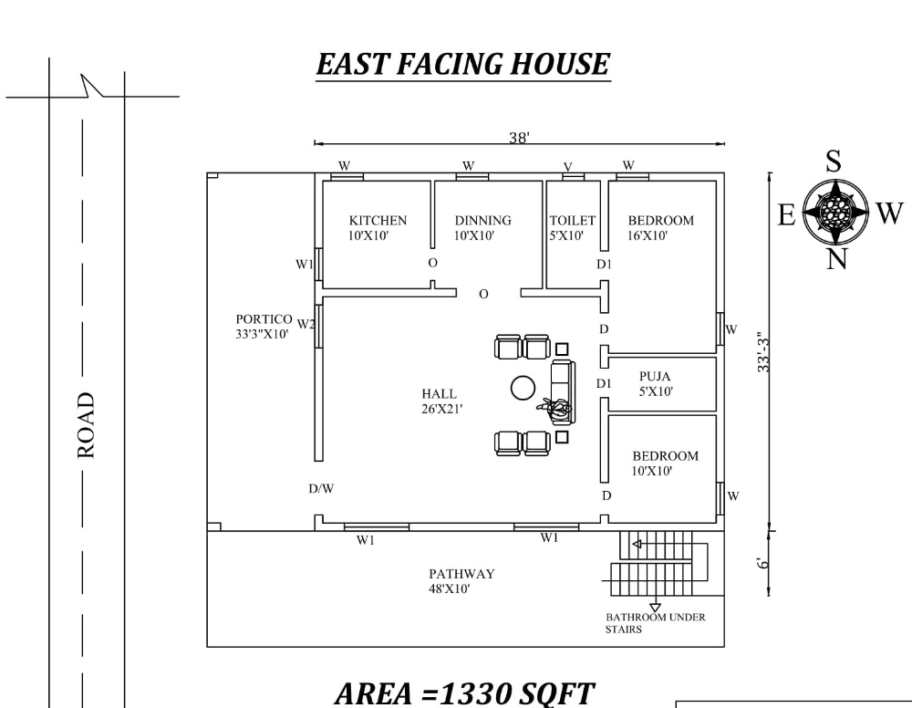 38 X39 The Perfect 2bhk East Facing House Plan As Per Vastu Shastra Autocad Dwg And Pdf File In 2020 House Plans My House Plans House