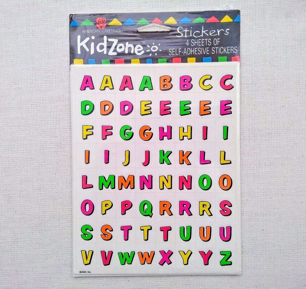 New alphabet stickers neon letters american greetings kid zone nip new alphabet stickers neon letters american greetings kid zone nip abc xyz spell kristyandbryce Images