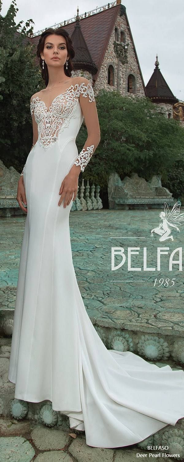 Long sleeve mermaid wedding dresses sexy plunging neck bridal gown