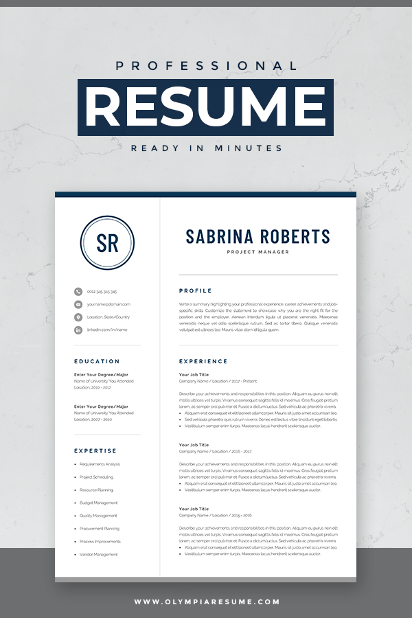 Resume Template For Word Mac Pages With Cover Letter And References Page Compact 1 Design Instant