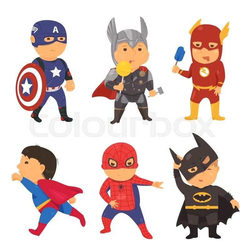 Cartoon Superhero Costume Kids Vector Illustration For Comic Super Hero Power Concept Set Of Fun Bright F Superhero Costumes Kids Superhero Kids Kids Vector