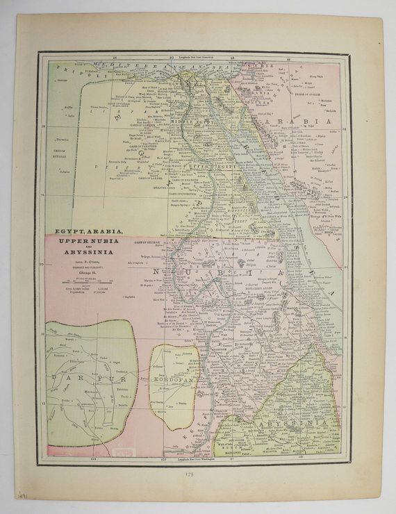 Vintage Map of Egypt 1891 Nubia Map, Abyssinia Map, Arabia ...