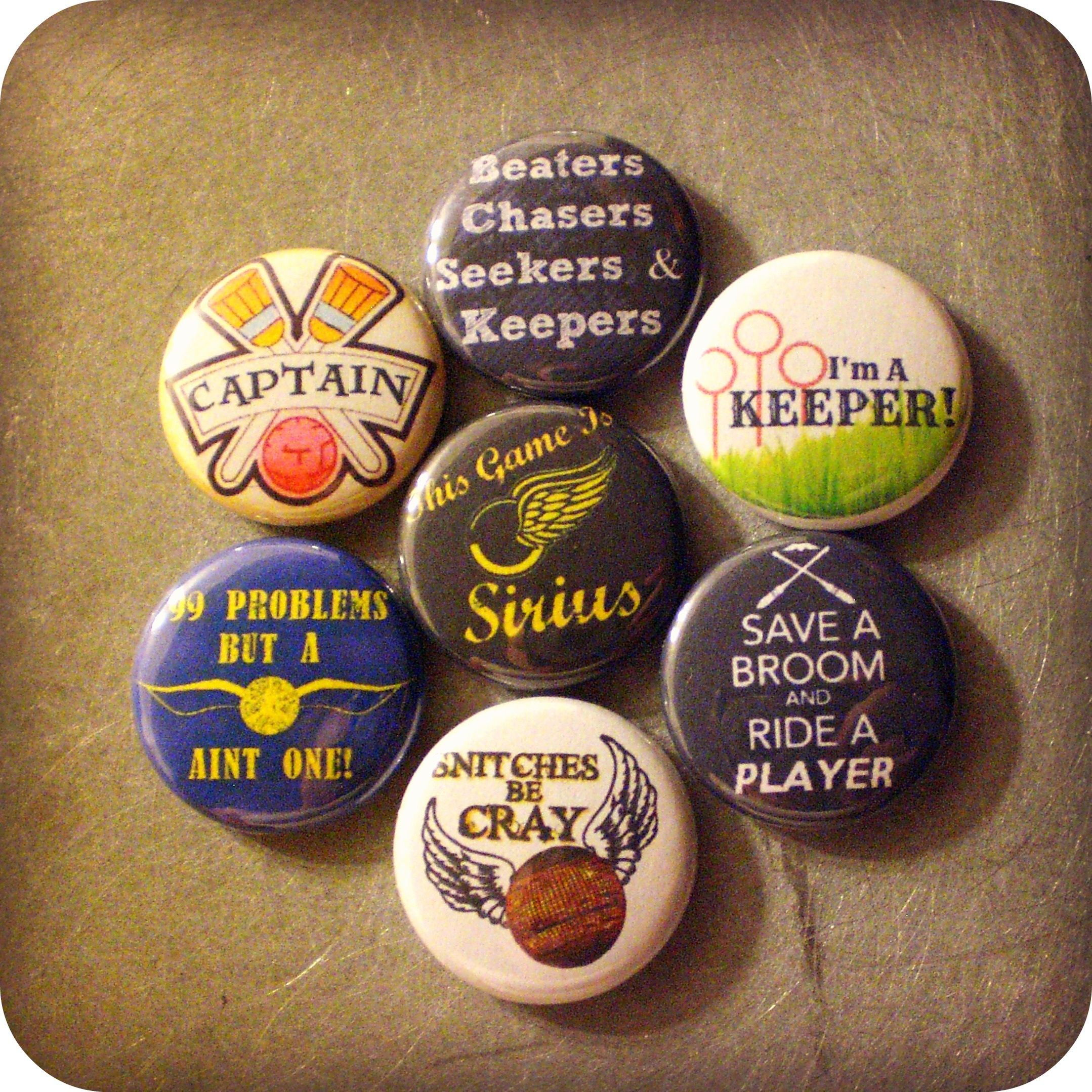 """Quidditch 1"""" Pinback Button Mix Inspired by Harry Potter"""