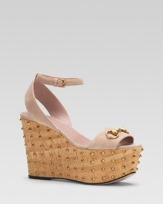 Gucci Liliane Ankle Strap Stud Wedge Sandal  Bloomingdale's
