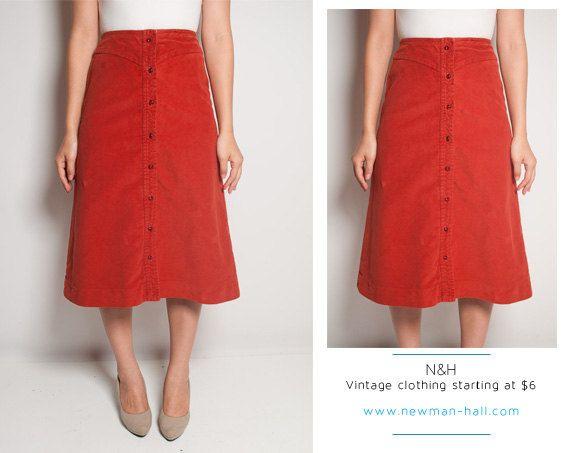 Vintage Clothing | $32.00 | Vintage 70s Burnt Orange Velvet Skirt with Buttons
