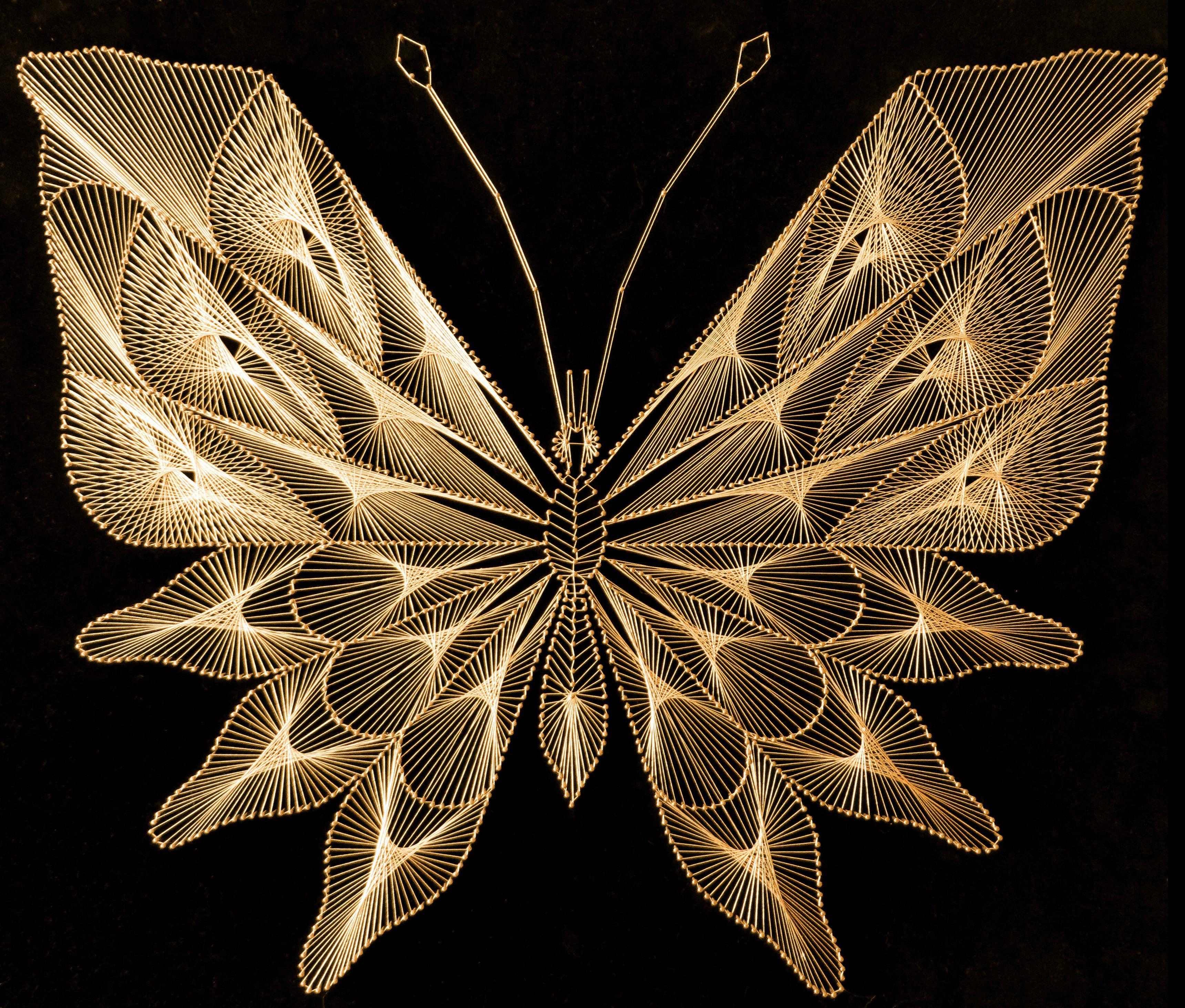 zelfgemaakt vlinder van gouddraad stringart homemade. Black Bedroom Furniture Sets. Home Design Ideas