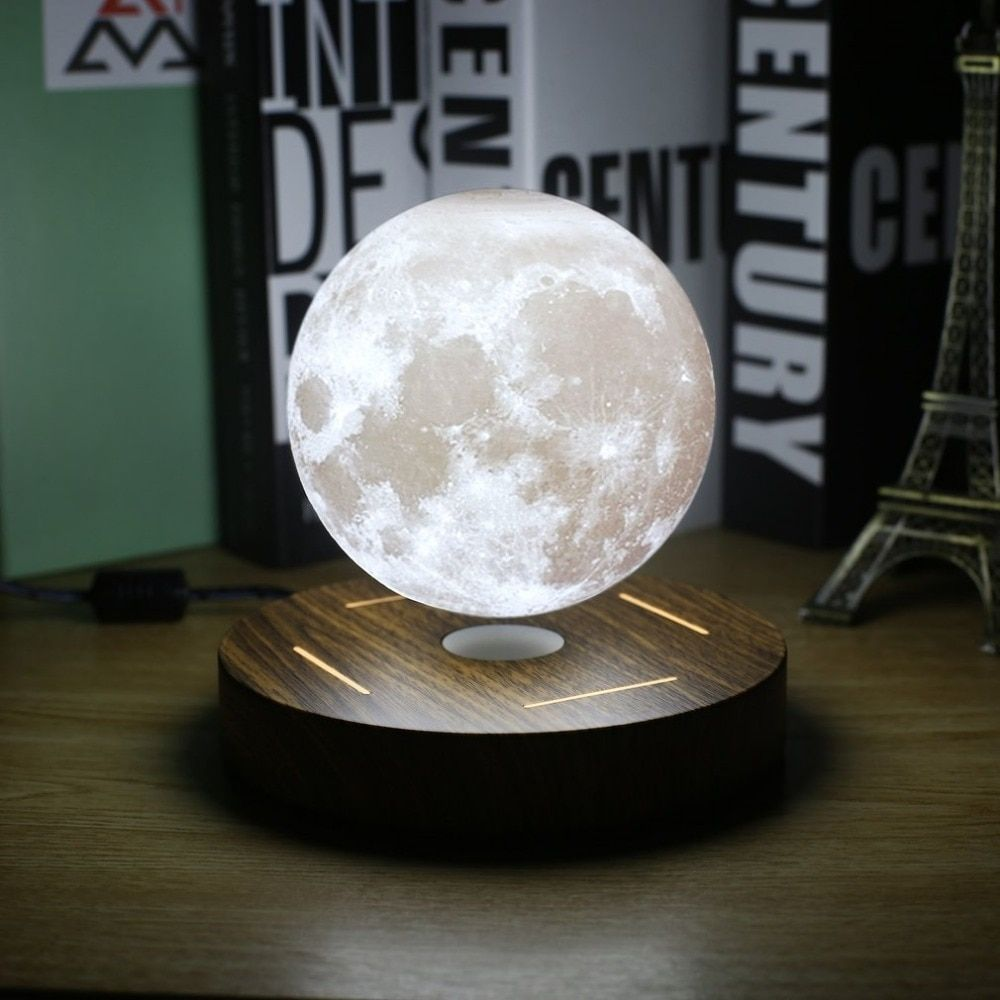 Magnetic Levitating 3d Moon Lamp 360 Rotated Wooden Base 10cm Night Lamp Floating Romantic Light Home Decoration For Bedroom Levitation Moon Light Lamp Night Lamps