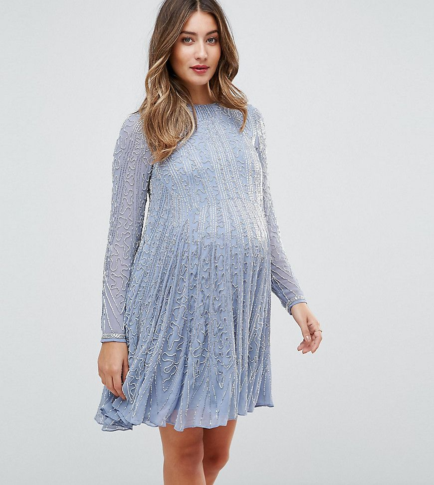 31cd9337f9464 ASOS Maternity Bugle Beaded Long Sleeve Skater Dress - Blue Inexpensive  Maternity Clothes, Professional Maternity