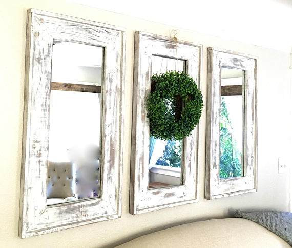 Wood Frame Farmhouse Set Of Three Mirrors Distressed Rustic Decorative Mirrors Reclaimed Matching Wall Mirrors Mirror Decor Farmhouse Mirrors Rustic Chest