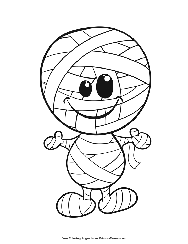Halloween Coloring Pages eBook: Mummy | Halloween coloring, Free ...