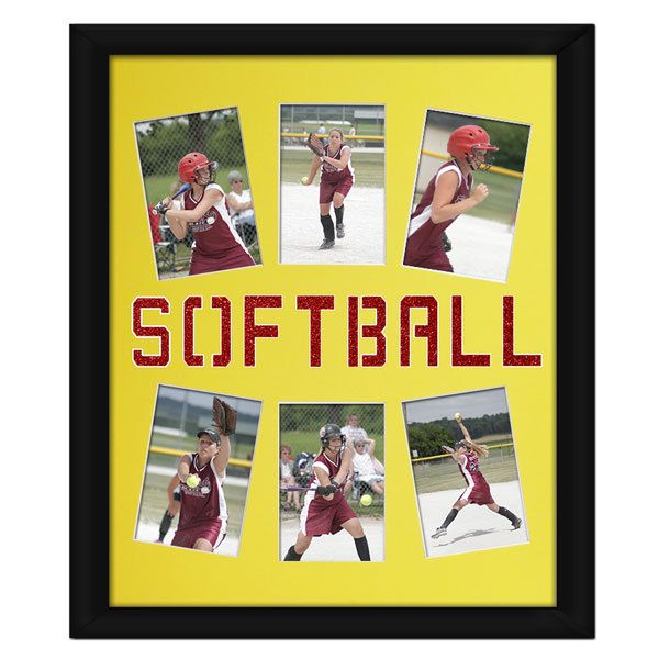 Softball Photo Mat. Customize your photo mat with a glitter insert to match your softball team colors!