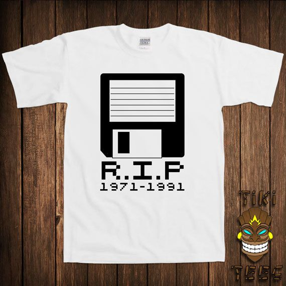 05def2e4 Funny Computer Nerd T-shirt Geek Geeky Tshirt Tee Shirt RIP Rest In Peace  Floppy Disk 1971-1991 Technology Science University College Humor