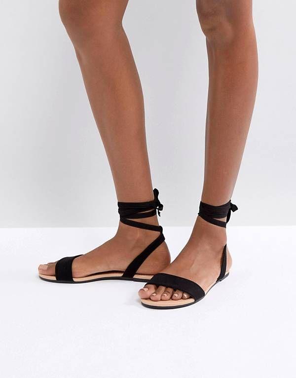 Sandalias planas anudadas en la pierna Flashing de ASOS DESIGN j1f8p