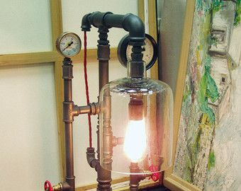 A unique steampunk pipe lamp on a wooden lacquered pedestal 40 x steampunk pipe lamp with two edison vintage bulb 01 greentooth Images