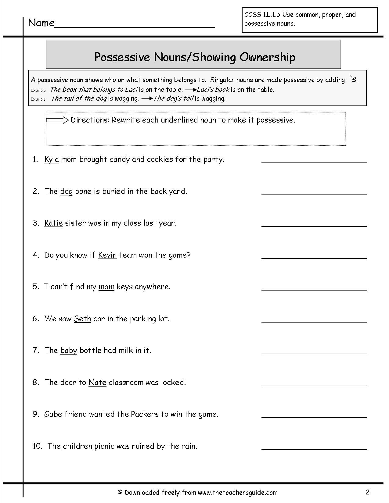 Possessive Nouns Worksheet