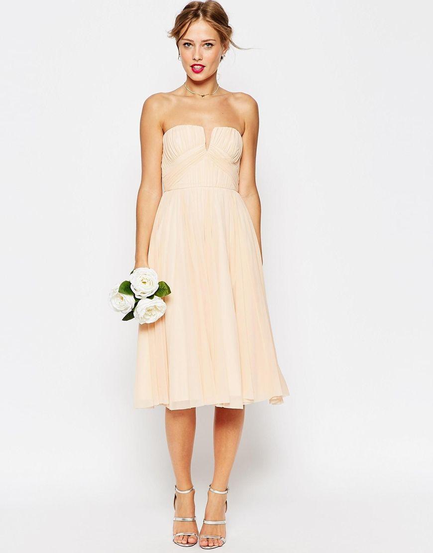 Image 4 of ASOS WEDDING Ruched Bodice Bandeau Midi Dress | wear it ...