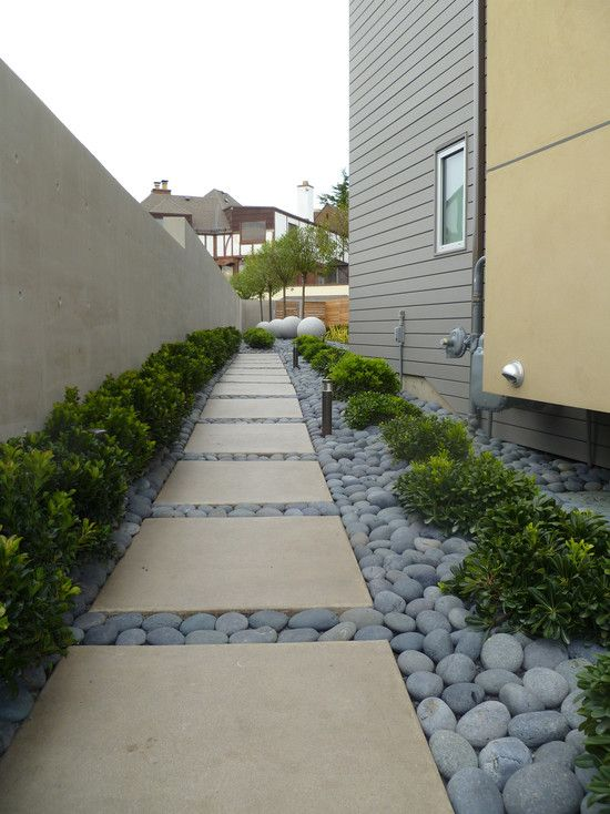 Beautiful Rock Siding For Houses: The Square Stepping Stone With Rock  Filler At Contemporary Landscape. Landscaping ...