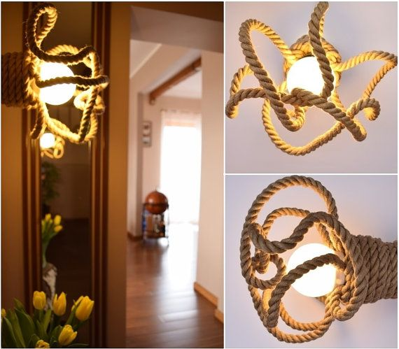Ceiling light wall light made from jute sailing rope sconce jute ceiling light wall light made from jute sailing rope sconce jute kraken 35cm 14 industrialnauticalloft lightingmarine style mozeypictures Gallery