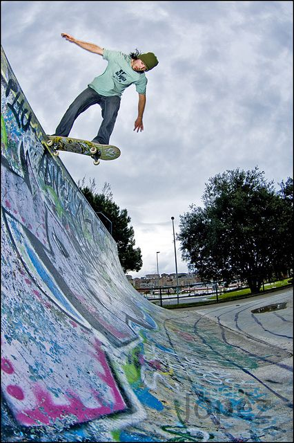 Pablo carranza backside tailslide revert skateboard longboarding and bmx for Waves swimming pool whitley bay