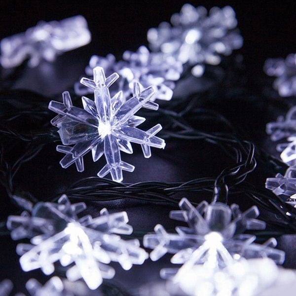 48M Christmas Snowflake Solar Power LED String Light Power led - solar christmas decorations