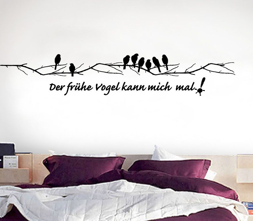 details zu wandtattoo der fr he vogel kann mich mal mit. Black Bedroom Furniture Sets. Home Design Ideas