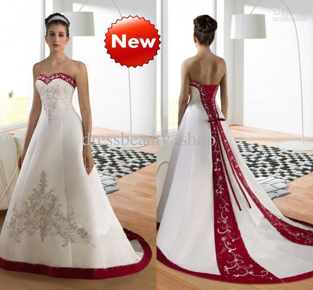 White And Red Wedding Gowns: Sweetheart Luxury Embroidery A-Line Wedding Dresses Wine