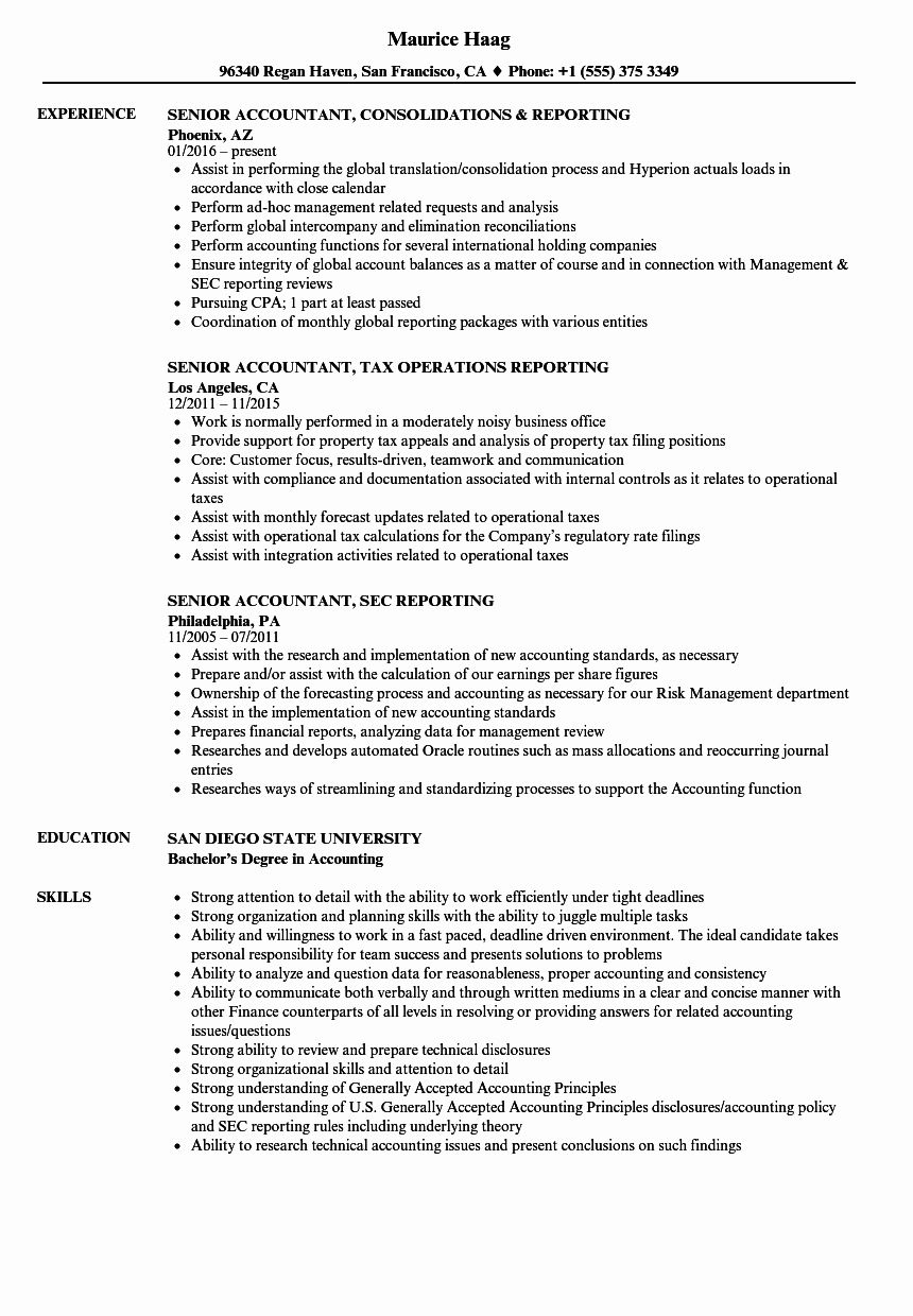 25 Senior Accountant Resume Sample in 2020 Accountant