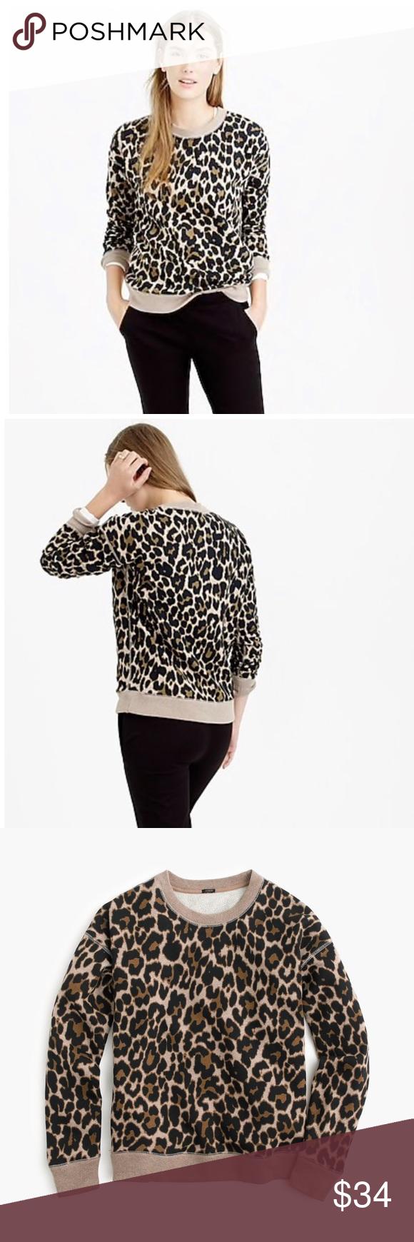 J Crew Leopard Crewneck Sweater Xxs J Crew Leopard Crewneck Sweater Xxs Black And Ta Leopard Print Sweatshirt Beautiful Sweatshirts Crew Neck Sweatshirt [ 1740 x 580 Pixel ]